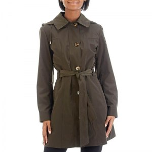 [1] Water-Proof-Button-Front-Tie-Waist-Hooded-Trench